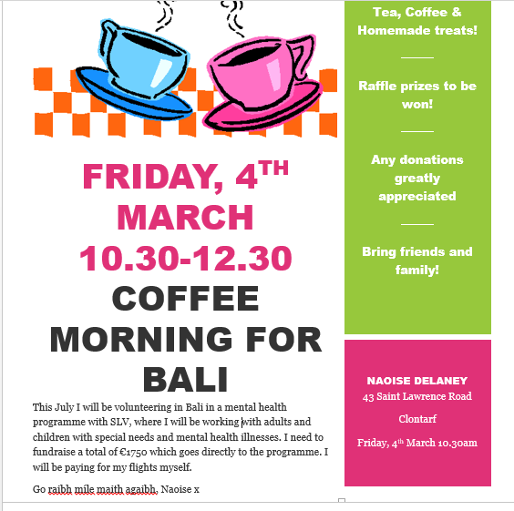 Fundraising Event!! Coffee Morning!!